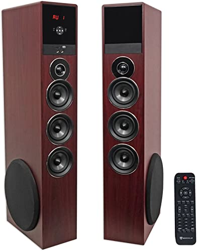 Rockville TM150C Cherry Powered Home Theater Tower Speakers 10 Sub Blueooth USB
