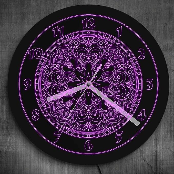Reloj de pared lila neón símbolo flor mandala led