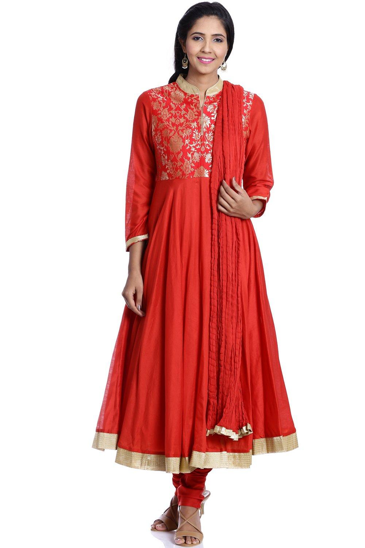 BIBA Women's Anarkali Cotton Suit Set 34 Red