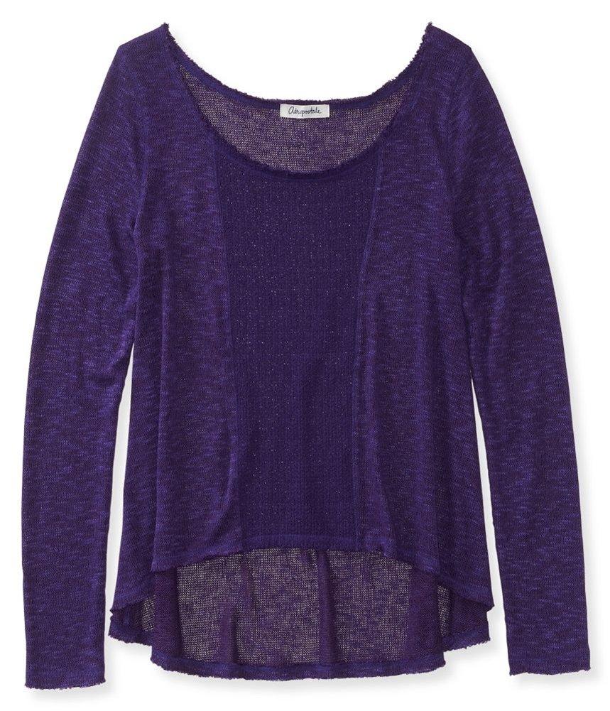 Aeropostale Womens Sheer Knit Sweater Purple M - Juniors