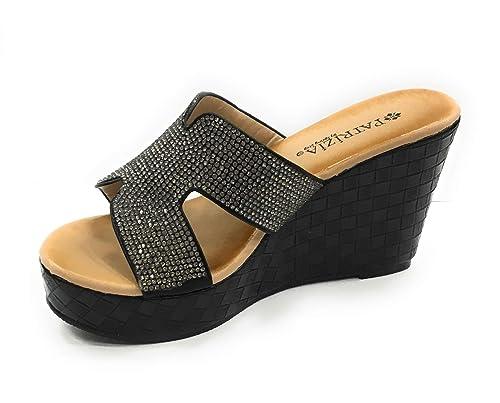 131880882dfe ITALIAN Shoemakers Patrizia Women s Genoli Wedge Sandal Thong with  Rhinestone (36