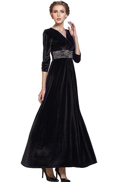 sale retailer 55a9b c2557 Medeshe vestito in velluto nero formale lungo abito da sera ...