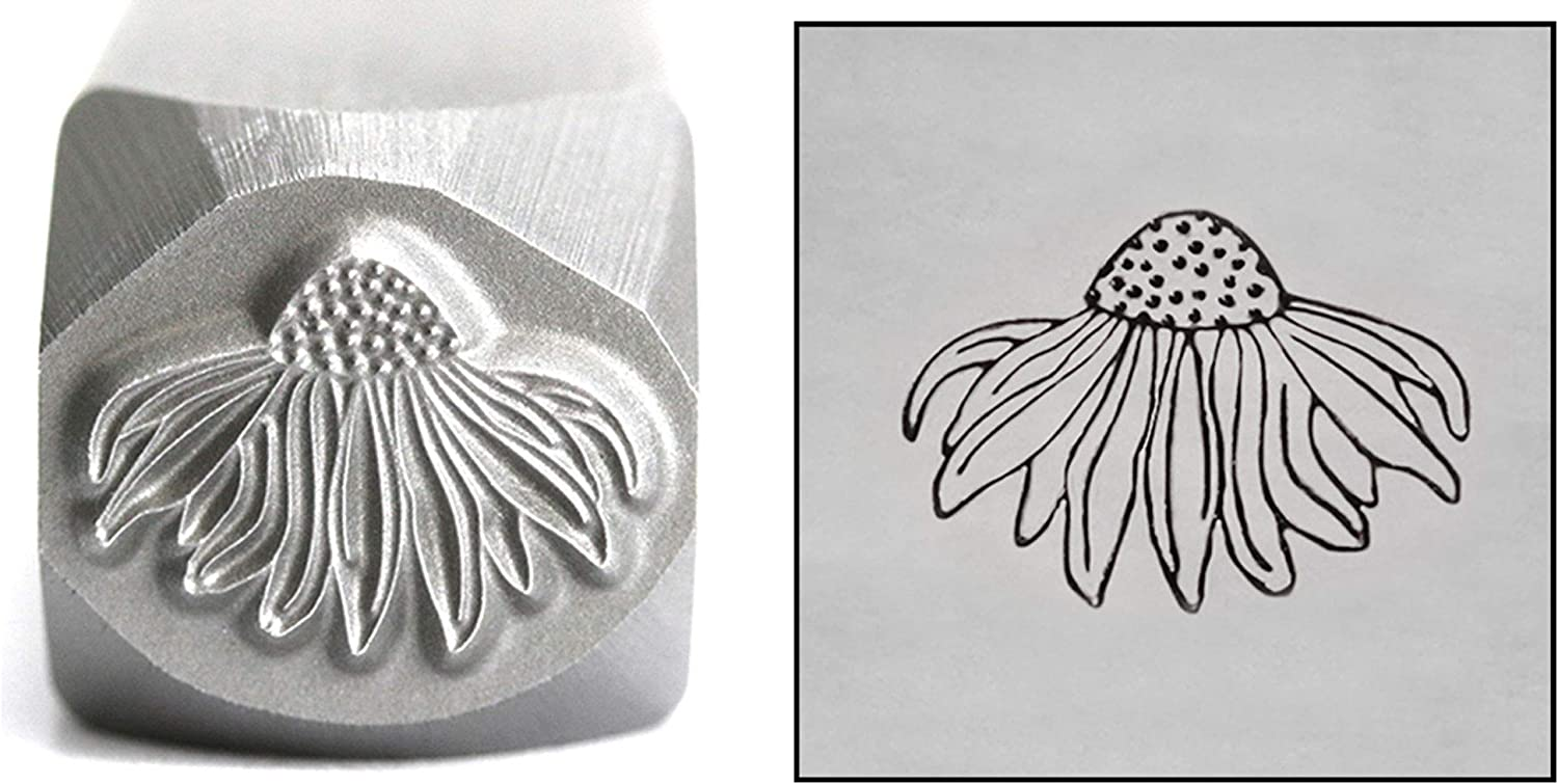 Beaducation Metal Stamping Punch Tools and Supplies for Hand Stamped DIY Jewelry Making Echinacea Flower Metal Design Stamp 7mm DS887