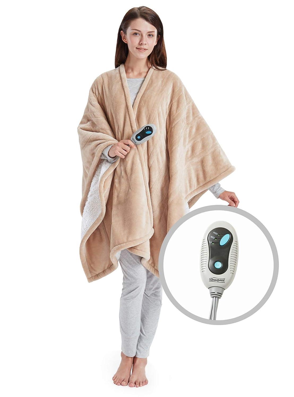 "Beautyrest Ultra Soft Sherpa Berber Fleece Electric Poncho Wrap Blanket Heated Throw with Auto Shutoff, 50"" W x 64"" L, Tan"