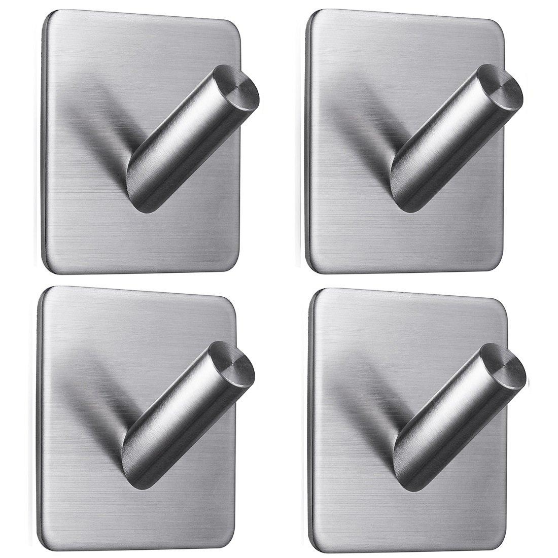 ステンレス鋼製フック 3Mの両面テープ 壁フック タオル掛け ローブ掛け 鍵掛け コートハンガー 浴室 キッチン 収納フック ブラシ加工 B073DZ6NYK 5