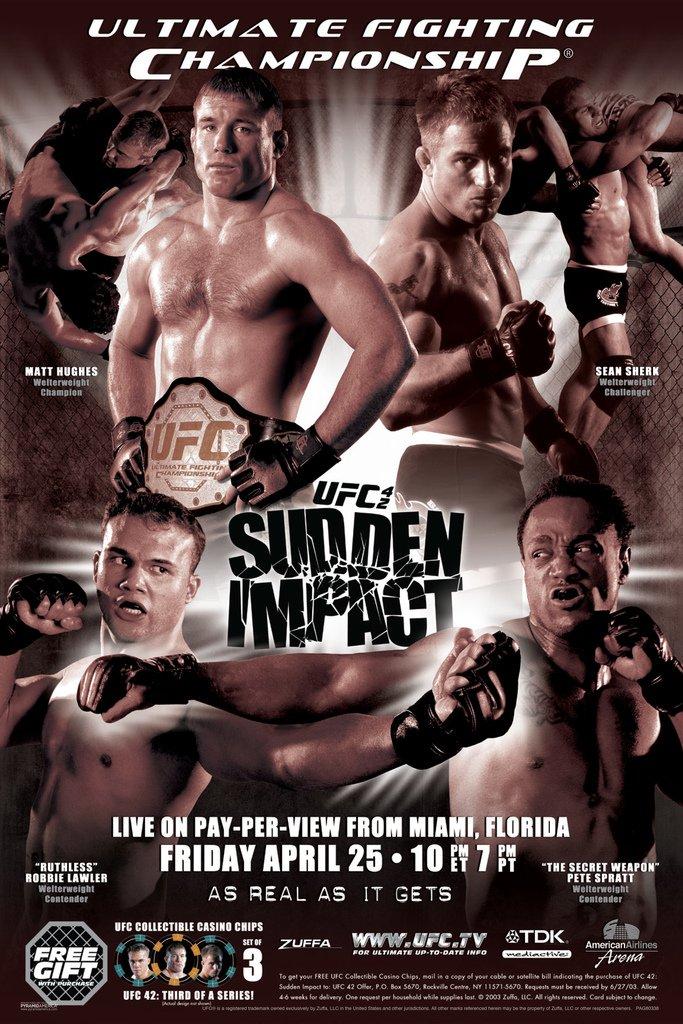 Pyramid America Official UFC 42 Matt Hughes vs Stan Sherk Sports Framed Poster 14x20 inch