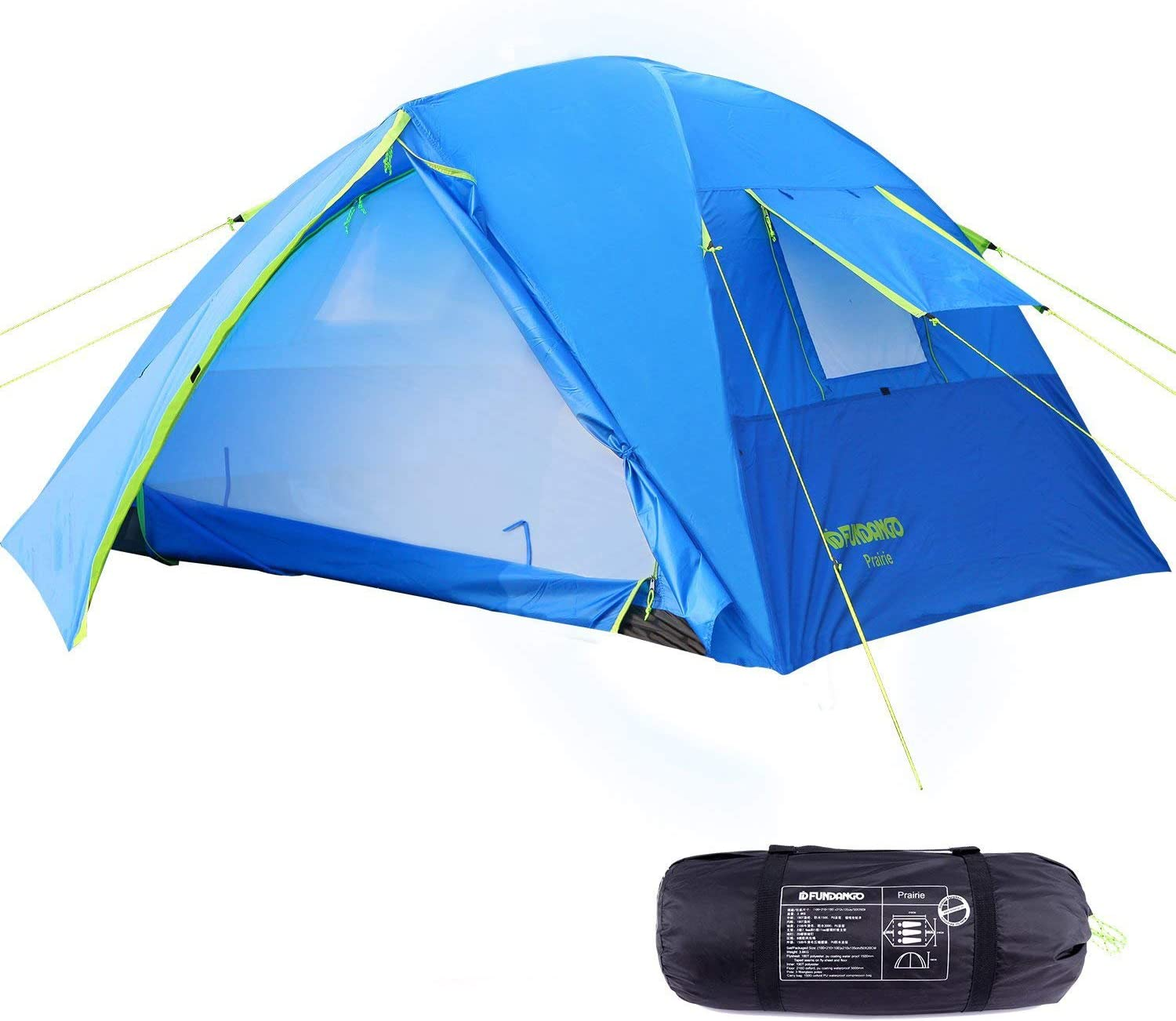 FUNDANGO 3-4 Person Camping Tent, Lightweight Waterproof Family Dome Tent for Outdoor, Backpacking, Hiking, Double Layers, 2 Doors, 2 Vestibules, 2 Side Windows, Super Ventilation, Easy to Setup, Blue