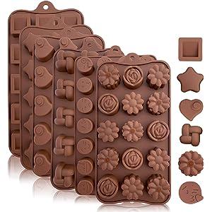 KITCHENATICS Moldes de Silicona y Caramelo de Chocolate: moldes Flexibles para Dar Forma a Caramelos