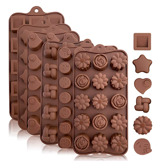 Silicone Candy and Chocolate Molds: Flexible Baking Molds for Chocolate, Shaping Hard or Gummy Candies, Keto Fat Bombs, Jello - Hearts, Stars, Flowers, Emojis, Fun Shapes in Brown Trays, 6 Pack best silicone baking molds