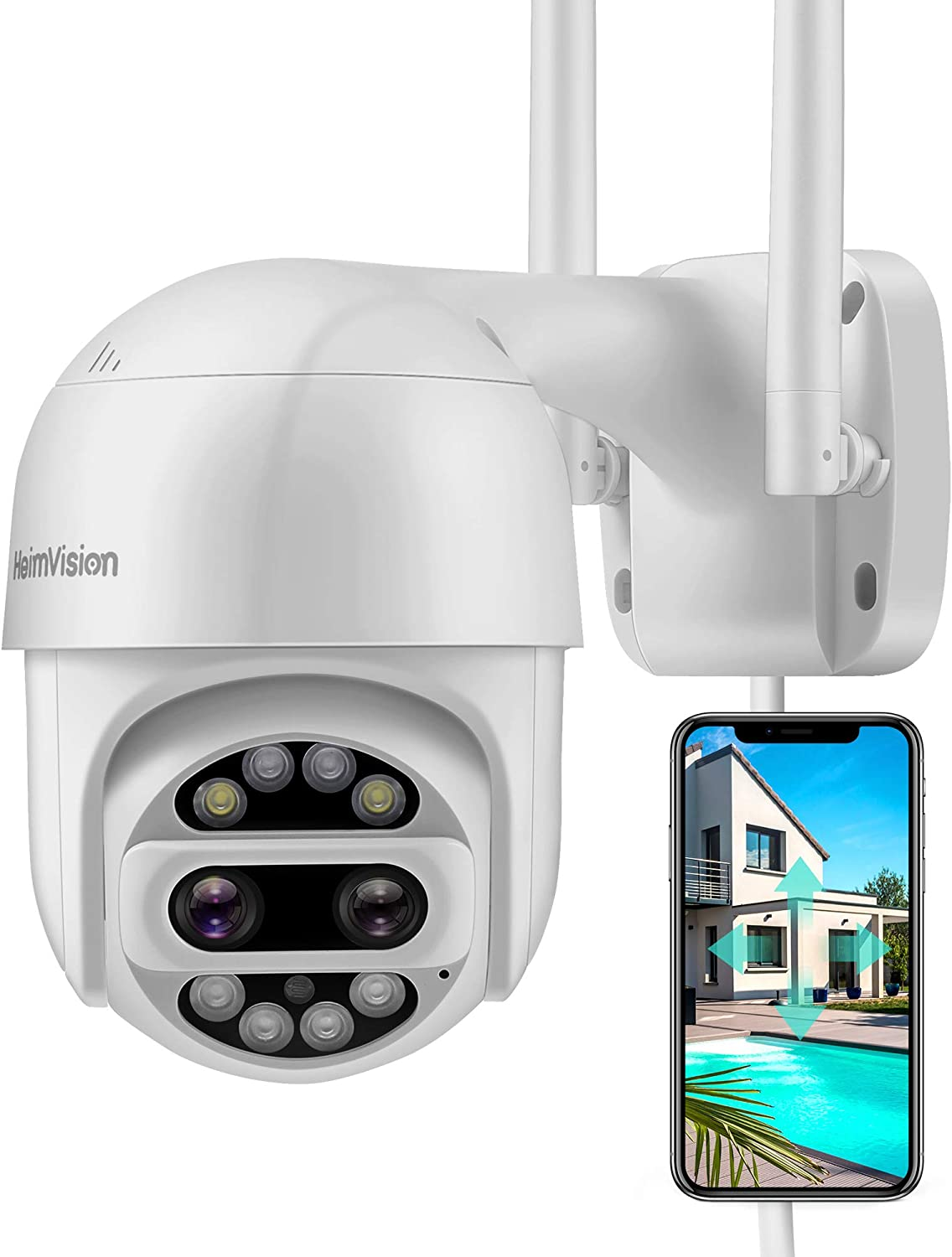 HeimVision PTZ Security Camera Outdoor, 2x2MP Ultra HD Dual Lens, Pan/Tilt/12X Zoom, 360° View, Wi-Fi Wireless Camera with Floodlights, Color Night Vision, 2-Way Audio, Motion Detection, Weatherproof