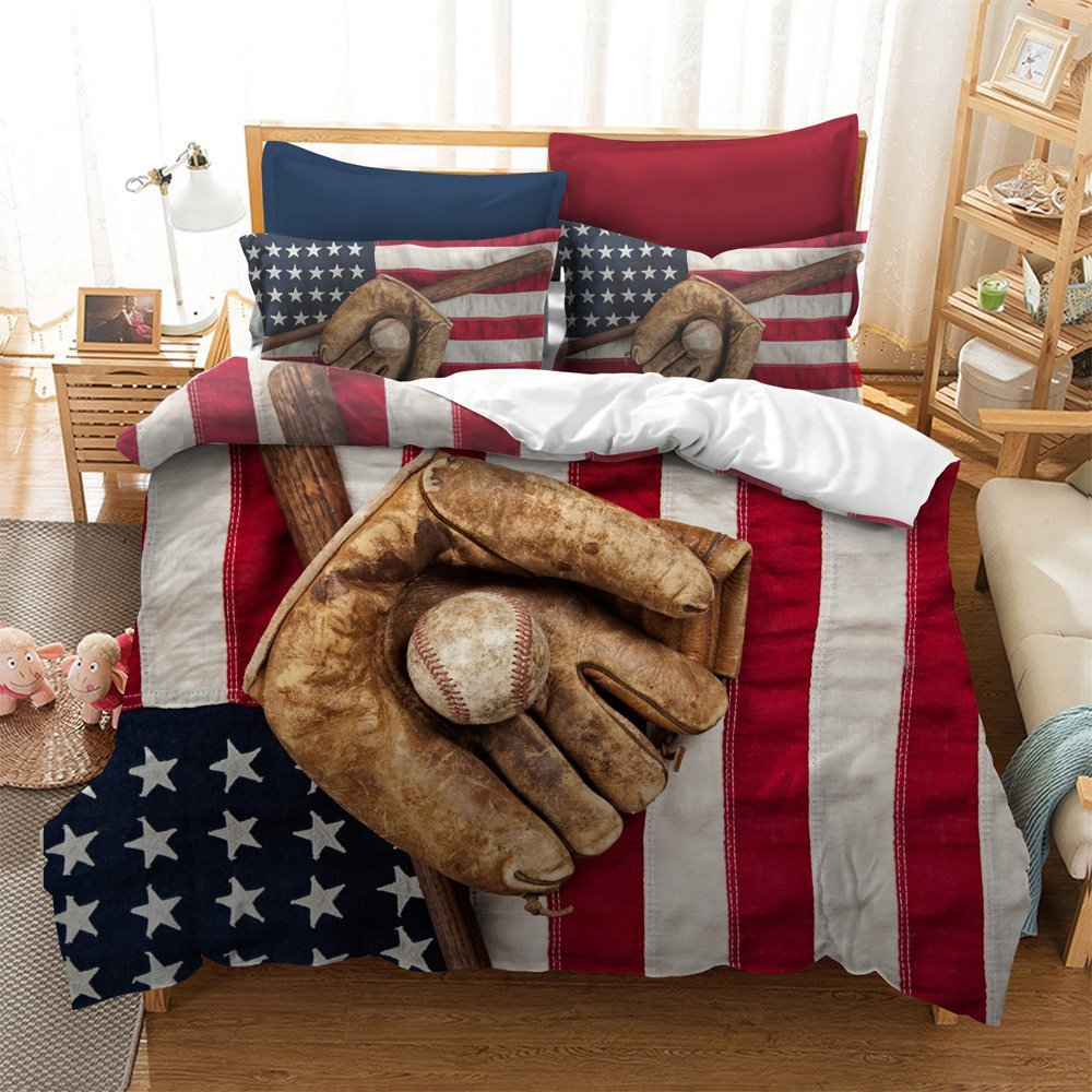 Fascinating Baseball Glove American Flag Cotton Microfiber 3pc 90''x90'' Bedding Quilt Duvet Cover Sets 2 Pillow Cases Queen Size