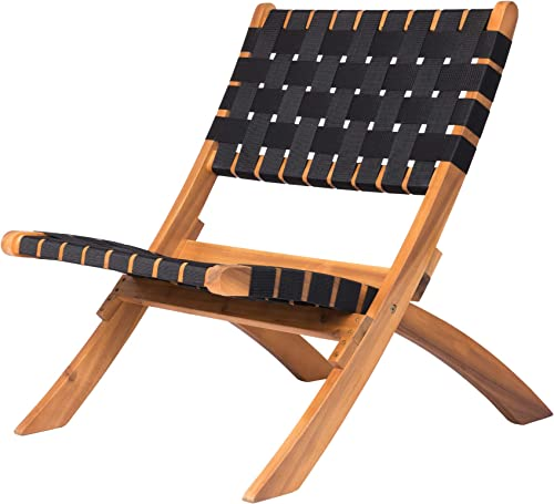 Patio Sense Sava Outdoor Folding Chair Acacia Wood Construction Black Woven Webbing Seat For Indoors, Porch, Lawn, Garden, Deck, Balcony, Beach, Camping, Sunbathing, Backyard, Fishing, Sporting