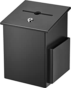 AdirOffice Square Wood Suggestion Box - Wall Mountable - with Lock & Chained Pen - Donation, Collection, Ballot, Key Drop, (Black)