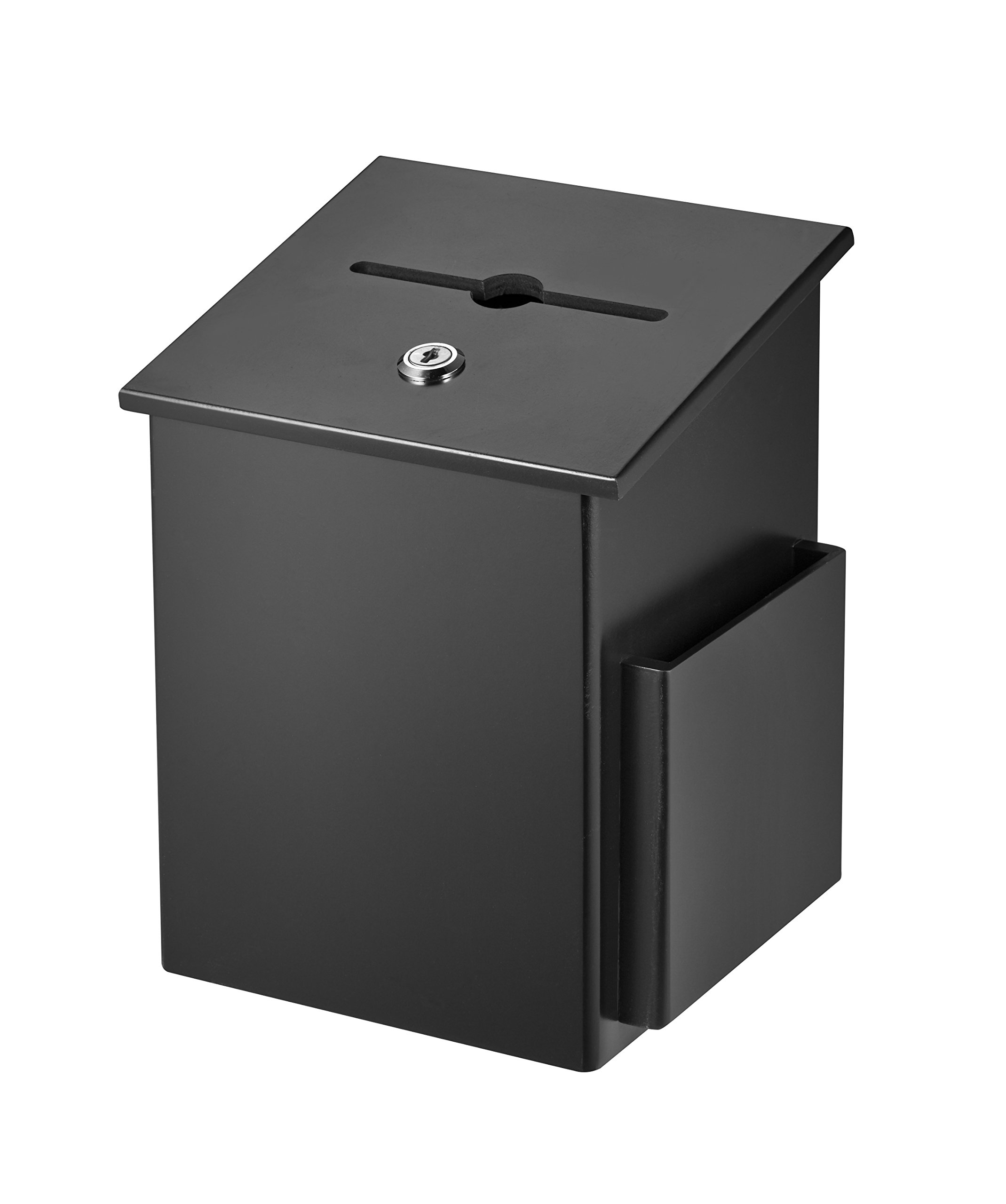 AdirOffice Square Wood Suggestion Box - Wall Mountable - with Lock & Chained Pen - Donation, Collection, Ballot, Key Drop, (Black) by AdirOffice