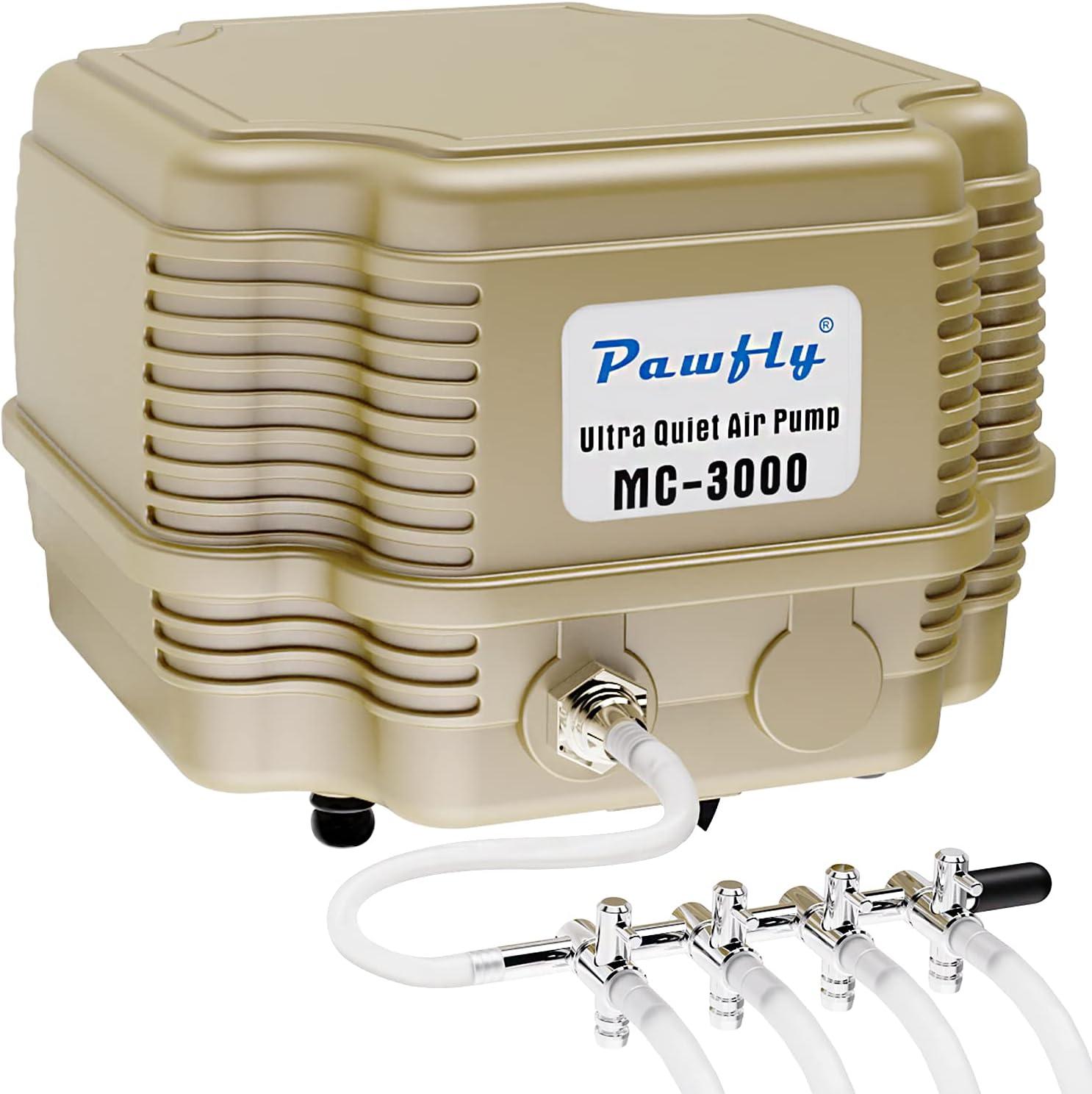 Pawfly 7 W 254 GPH Commercial Air Pump 4 Outlets Manifold Quiet Oxygen Aerator Pump for Aquarium Pond : Pet Supplies
