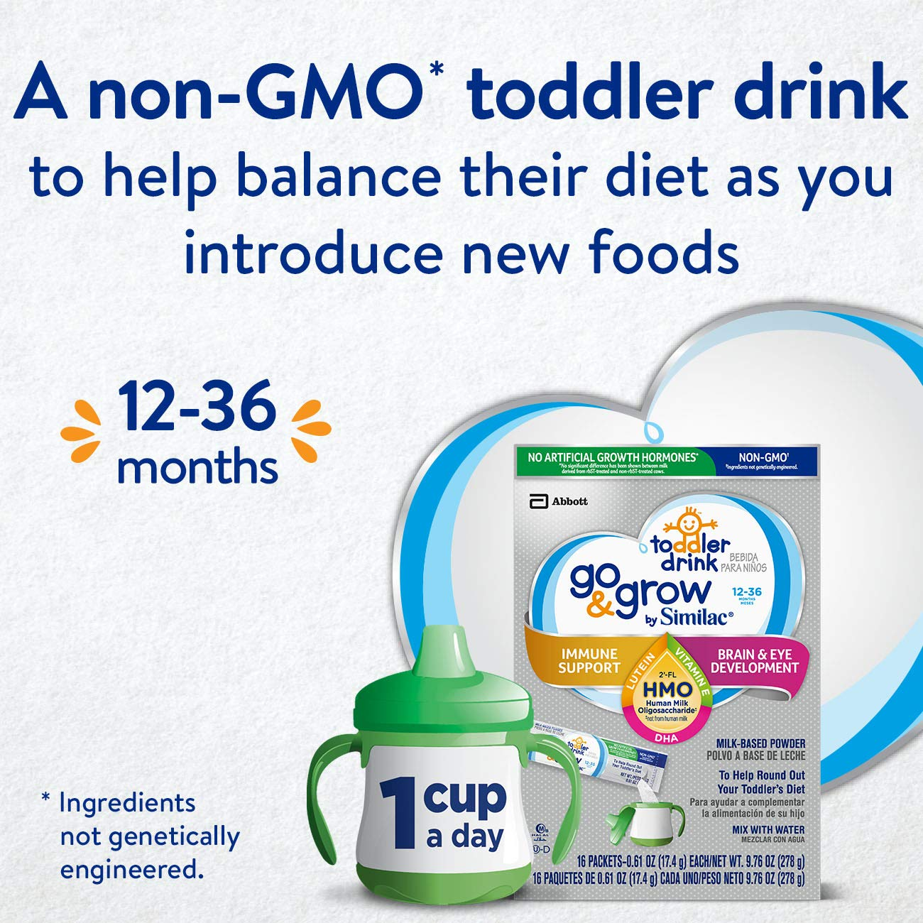 Go & Grow by Similac Non-GMO Toddler Milk-Based Drink with 2'-FL HMO for Immune Support, Powder Stick Packs, 17.4 g, 64 Count by Similac Go & Grow Milk (Image #3)