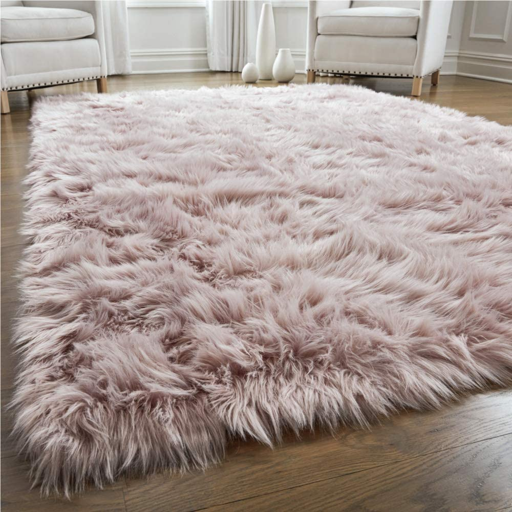 Gorilla Grip Premium Faux Fur Area Rug, 5x7, Fluffy Shag Carpet Accent Rugs for Bedroom and Living Room, Luxury Indoor Home Decor, Bed Side Floor Plush Carpets, Rectangle, Dusty Rose