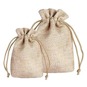 Siumir Bolsas de Arpillera Bolsas de Regalo Bolsita Saco de Yute 7 x 9 cm & 10 x 14 cm