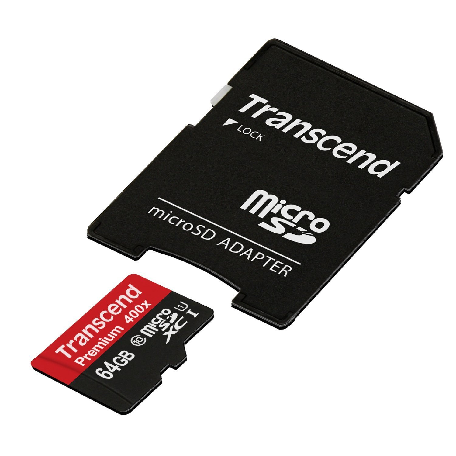 Transcend 64GB MicroSDXC Class10 UHS-1 Memory Card with Adapter 60 MB/s (TS64GUSDU1)