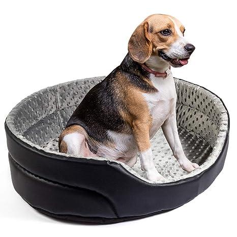 Boutique Zoo – Elegante cama para perros/Negro con gris Minky/cama para perros