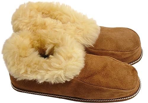 Hüttenhausschuh aus echtem Lammfell mit Ledersohle, Farben:beige, Schuhgröße:46