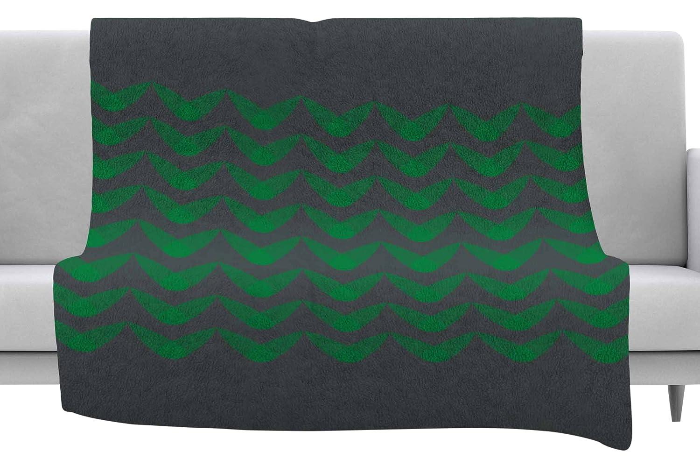 60 x 40 Fleece Blankets Kess InHouse Trebam Listati Green Gray Digital Throw