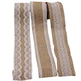 LAOZHOU 3 Pack of Natural Burlap Craft Ribbon Roll with White Lace 78.7inch,DIY Handmade Christmas Wedding Crafts Lace Linen (3 Pack)