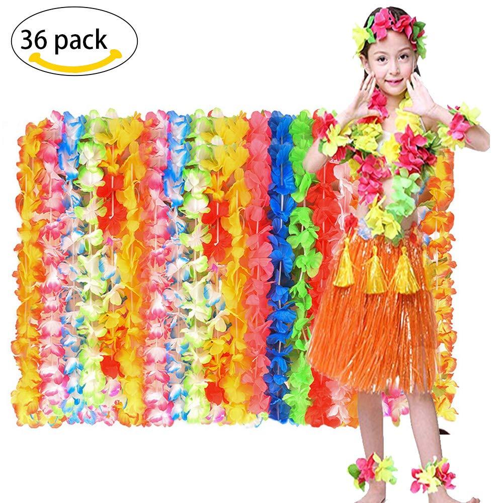 MMTX hawaïen Luau Collier de Fleur Leis 36 Chefs Tropical Hawaiian Luau Fleur Leis Party Favors Costume Summer Beach Party à la Mode Conception pour Les Enfants et Les Adultes.