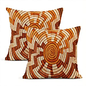 Llsty Set of 2 Throw Pillow Covers Colorful Native American Woven Indian Basket Intertwine Pillowcases Modern Linen Home Car Sofa Office Room Decor Cushion Covers 20 x 20 Inch