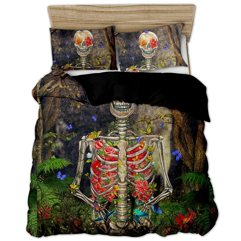 Bedding Duvet Cover Set Bedding Set Printed Duvet Cover Set with Pillowcase Home Textiles 3 Styles Washable Skull Design (Color : A, Size : JP190X210CM) by OZYN-Duvet Covers