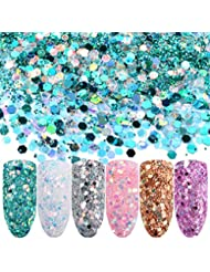 Cattie Girl 6 Boxes Hexagon Nail Sequins Shining Flakes Glitter Tips Pink White Blue Mixed Size 3D DIY Manicure Nail Art Decoration