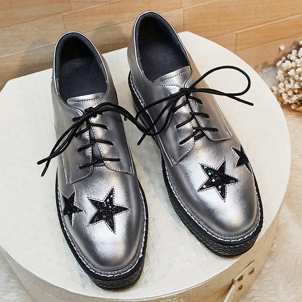 RoseG Damen Leder Schnürschuhe Silber Keilabsatz Plateau Halbschuhe Schuhe Silber Schnürschuhe 034999