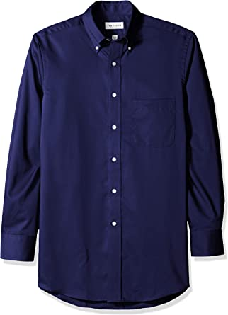 Van Heusen de hombre de sarga camisa, azul marino: Amazon.es: Hogar