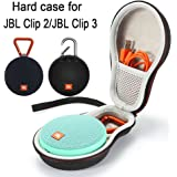 Hard Case Travel Carrying Storage Bag for JBL Clip 2/JBL Clip 3 Wireless Bluetooth Portable Speaker. Fits USB Cable - Black