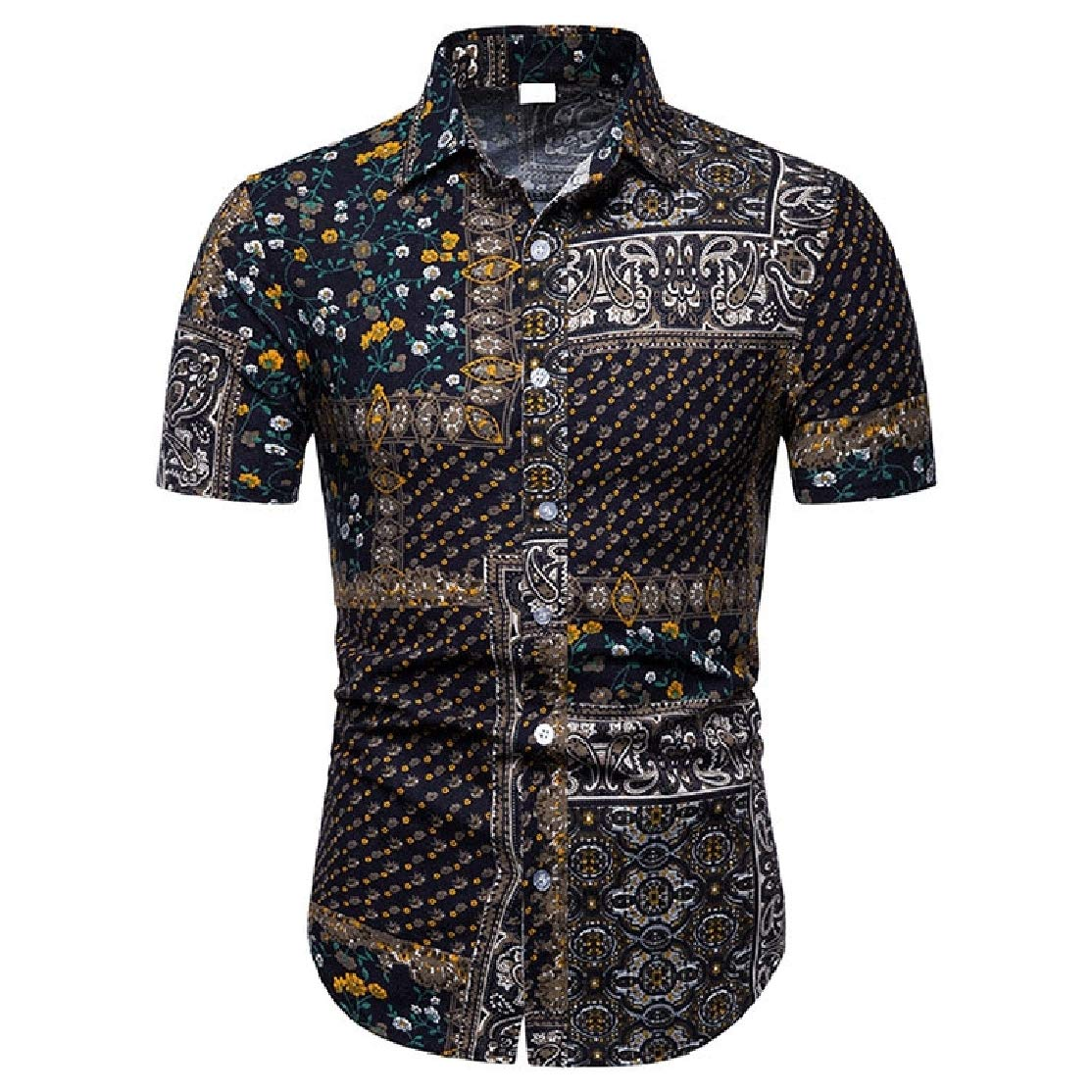 Colourful Mens Beachwear Digital Print Summer Linen Short-Sleeve Hawaii Casual Shirt