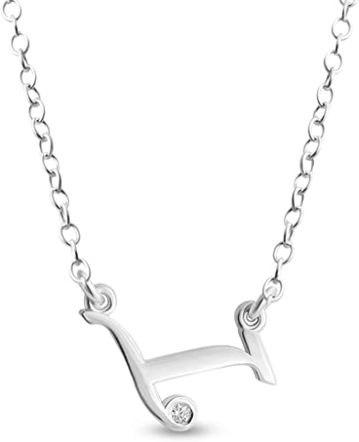 Azaggi 925 Sterling Silver Alphabet Scripted Initial Letter X Pendant Necklace