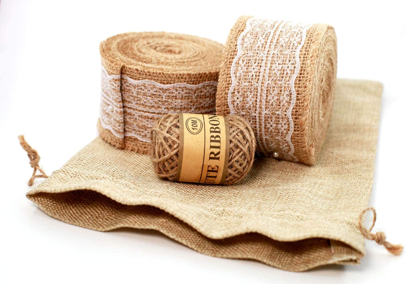 CHUXIA 472 Inch Natural Burlap Ribbon Roll with White Lace Trims, Burlap Border Tape for Wedding Decoration DIY Craft Home Party Decoration