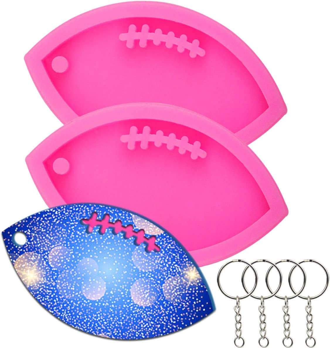 Chistepper 2 Pieces Rugby Silicone Molds Football Fondant Candy Chocolate Molds Keychain Molds with Hole for Pudding Fudge Cake Chocolate Candy Ice Cream Desserts Cupcake
