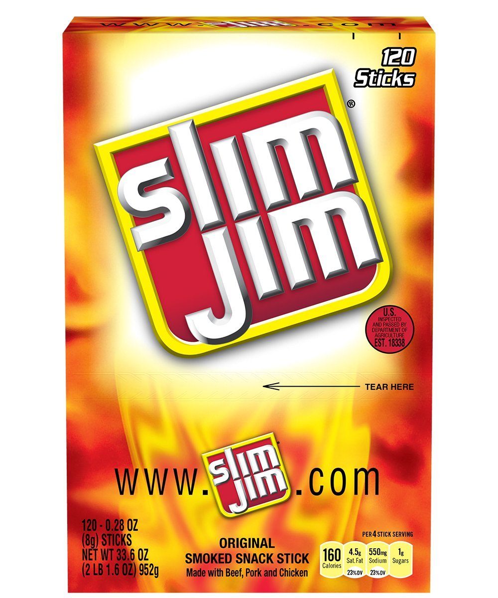 Slim Jim Snack-Sized Smoked Meat Stick, Original Flavor, 33.6 Ounce