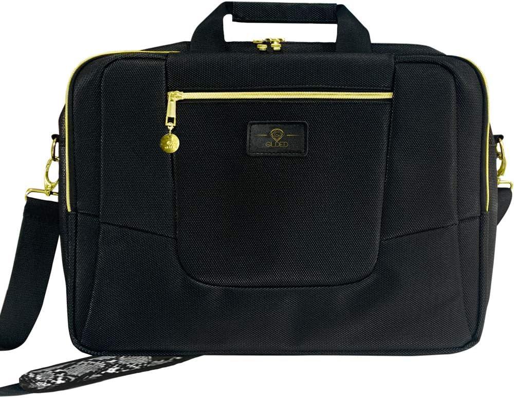 GI Gilded Imports Designer Laptop Bag 15.6-Inch Notebook Tablet Lightweight Black & Gold Quality