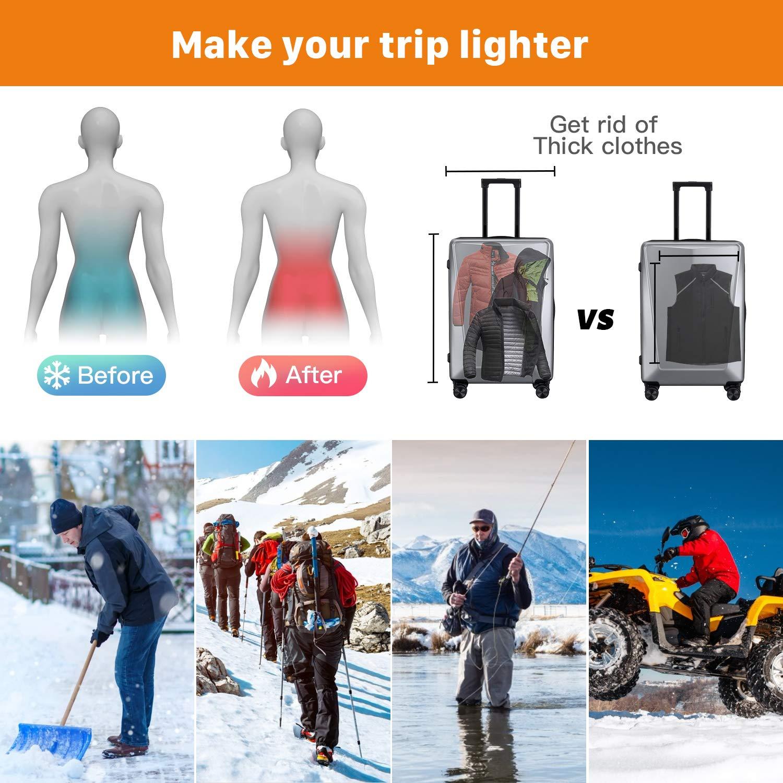 Waschbare Gr/ö/ße Einstellbar USB-Lade Erhitzt Polaren Fleece Kleidung Winter Warme Weste Vinmori Elektrische Beheizte Weste