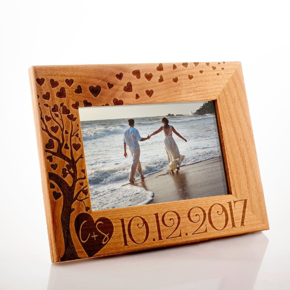 Lily's Atelier Personalized, Wedding, Valentines Day, Horizontal and Vertical Wooden Picture Photo Frame, 4x6 | 5x7 | 8x10