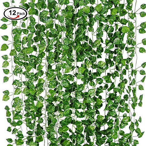 12 Pack Artificial Lvy Leaf, EJIA TECH Garland Plants Vine Hanging Wedding Fake Foliage Flowers for Home Kitchen Garden Office Wedding Wall Decor 79 Feet (Make Your Own Poison Ivy Costume)