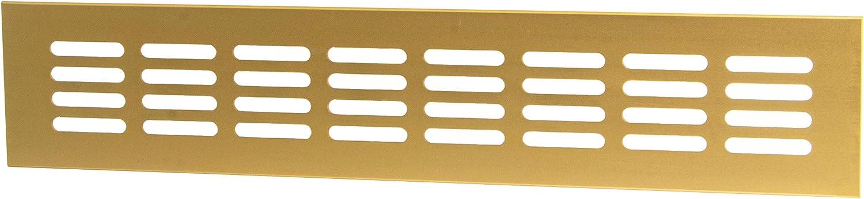 Rejilla de ventilación para puerta (latón, aluminio, 300 x 60 mm) Fabricado en Alemania. 1 pieza – Chapa de ventilación con tornillos.
