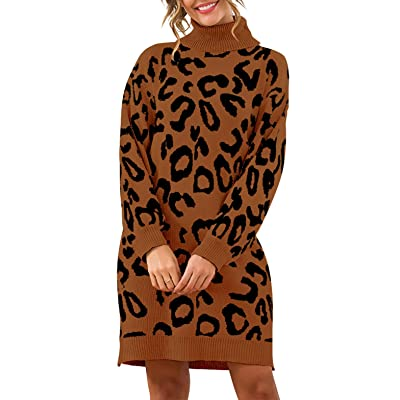 PRETTYGARDEN Women's Fashion Leopard Print Lantern Long Sleeve Turtleneck Chunky Long Loose Knitted Pullover Sweater Dress (Coffee, Small) at Women's Clothing store