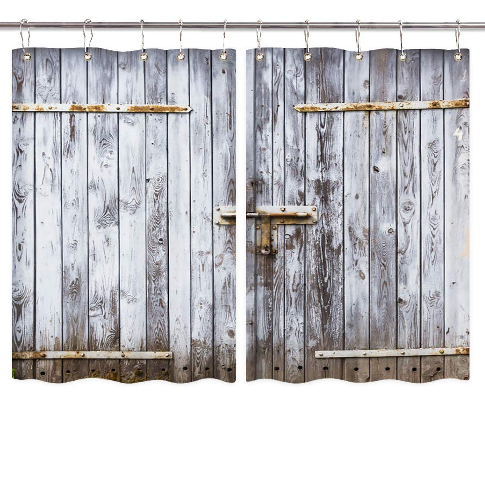 Amazon.com: NYMB Rustic Kitchen Window Curtains, Old Wooden ...