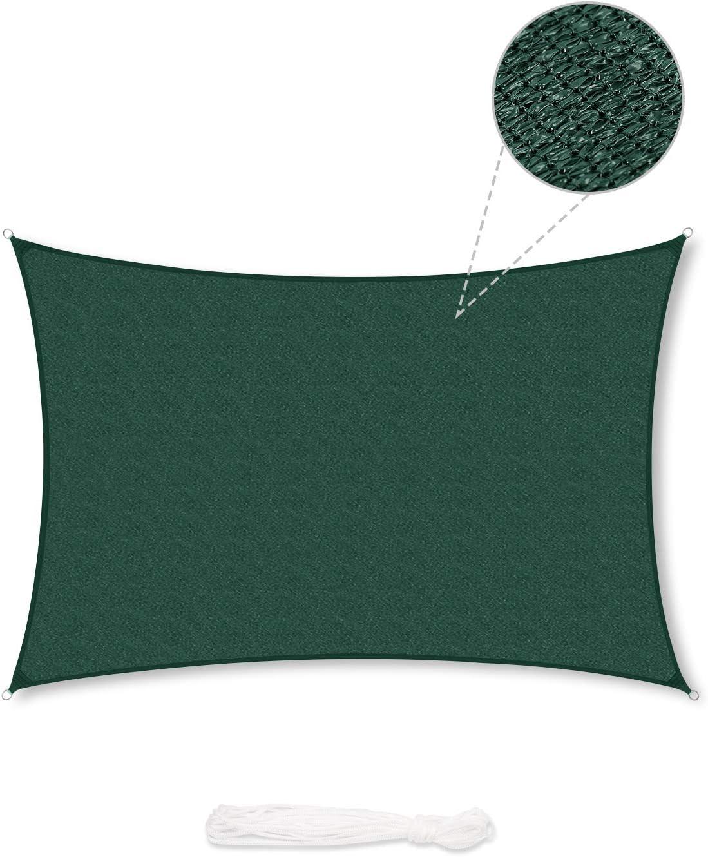 Sekey Toldo Vela de Sombra Rectangular HDPE Protección Rayos UV Resistente Permeable Transpirable para Patio, Exteriores, Jardín, con Cuerda Libre, 4×5m Verde: Amazon.es: Jardín
