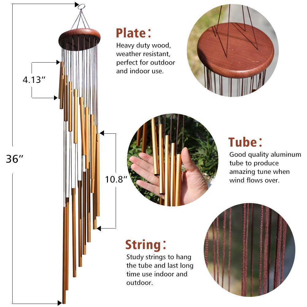 ABREOME Windspiel Chimes golden Klangspiele Windspiele Deko mit Klang Aluminium gro/ß Gesamtl/änge 91cm f/ür drau/ßen Balkon Garten