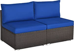 Tangkula 2 PCS Outdoor Wicker Armless Sofa, Patio Rattan Sectional Sofa Set w/2 Thick Cushions and 2 Pillows, Additional Seats for Balcony Garden Patio Poolside (Navy Blue)