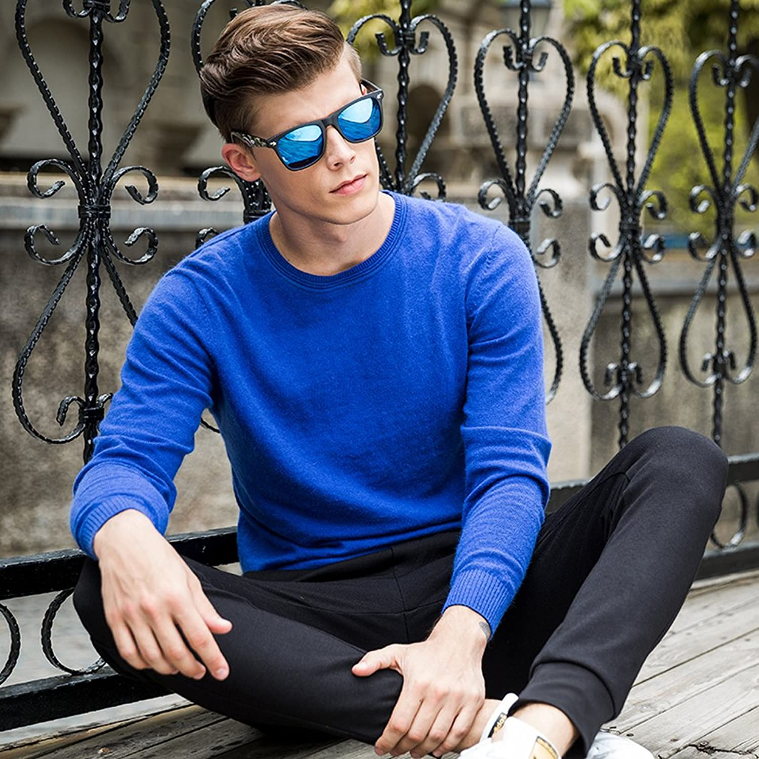 Dilize Men's Blue Soft Knit Jumper Slim Basic Solid Thin Sweater
